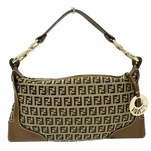 FENDI Zucca Small Canvas Shoulder Bag Beige
